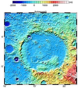 Schiaparelli (Martian crater) - Image: Schiaparelli MOLA