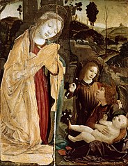 Madonna with two Angels Adoring the Christ Child in a landscape