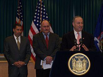 Niskayuna, New York - L to R: Governor David Paterson in Niskayuna with town Supervisor Landry and Senator Chuck Schumer at microphone, c.2000s