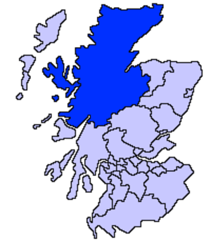 Lochaber - The Highland council area, containing Lochaber, shown as one of the council areas of Scotland