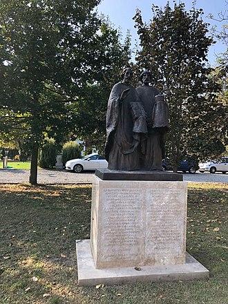 Zalavár - Image: Scupltures of Saints Cyril and Methodius in Zalavár