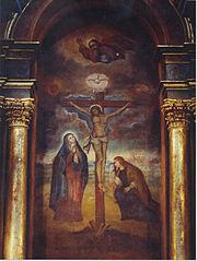 Mural del Señor de los Milagros, ícono de la religión cristiana (católica) que se profesa mayoritariamente en América Latina