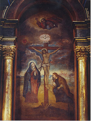 Lord of Miracles - Mural of the Señor de los Milagros painted in Sanctuary of Las Nazarenas at Lima in Perú