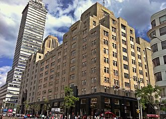 Sears building in the Edificio La Nacional building in Mexico City, across from the Palacio de Bellas Artes. Sears Centro Historico.jpg