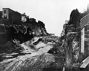 Rincon Hill, San Francisco - Looking North through the Second Street Cut in 1869