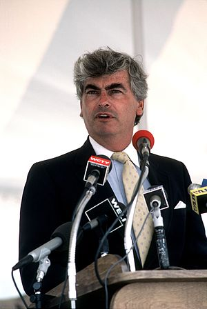 Chris Dodd - Dodd giving a speech at Naval Submarine Base New London, July 1985.