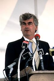 Senator Dodd giving a speech at Naval Submarine Base New London, July 1985.