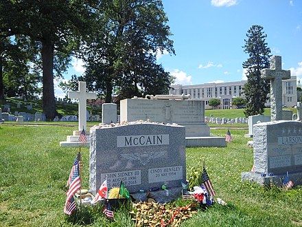Grave of John McCain III next to his Naval Academy classmate Charles R. Larson at the United States Naval Academy Cemetery Sen McCain grave.jpg