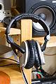 Sennheiser monitor headphone in front of Alesis M1A (2014-05-18 by David Hilowitz).jpg