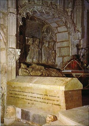Fernán González of Castile - Sepulchre of Fernán González at Covarrubias, Spain, the lid is from the nineteenth century and the casket from the fifth.