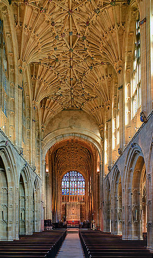 Sherborne Abbey - The nave and chancel looking east