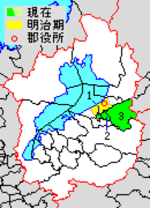 Inukami District, Shiga - Map of Inukami District with Meiji period (1890) area in yellow, modern area in green.
