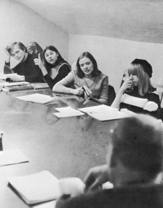 Student voice - Student raising a point in a Shimer College class, 1967