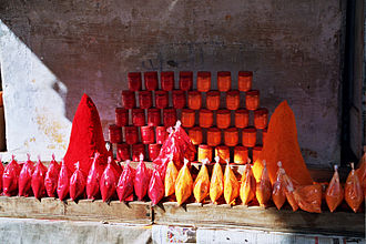 Sindoor - Shop selling sindoor in Pushkar, Rajasthan, India.