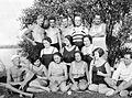Shore, tableau, bathing suit, men, women, free time, summer, ball, water surface, bouquet Fortepan 2638.jpg