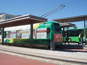 Side and rear view of a trolleybus at university bus terminal in Castellón.jpg