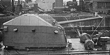 Sideview of No4 turret of japanese destroyer Harutsuki at Maizuru in 1945.jpg