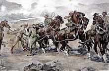 Watercolour Saving the guns at Colenso by Sidney Paget