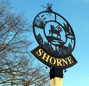 Shorne - Village sign outside the old post office at Shorne.
