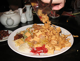 Yusheng Cantonese-style raw fish salad