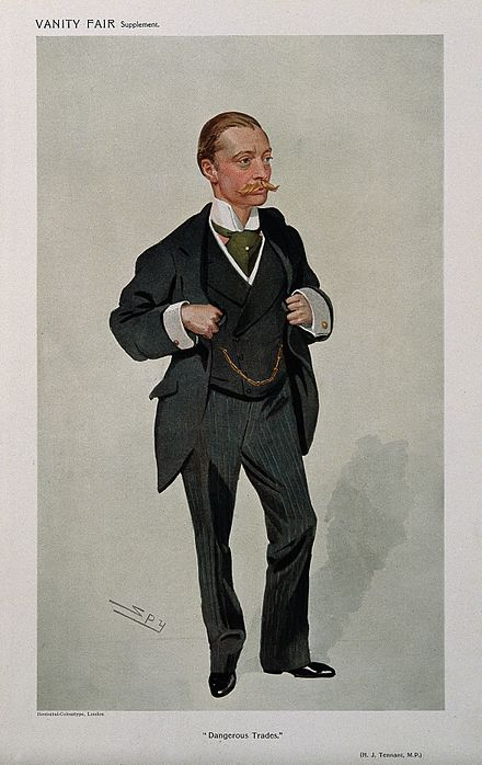 Tennant caricatured by Spy for Vanity Fair, 1909 Sir Harold John Tennant. Colour lithograph by Sir L. Ward (S Wellcome V0005756.jpg