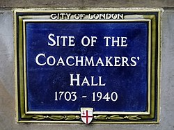Site of the coachmakers hall 1703 1940