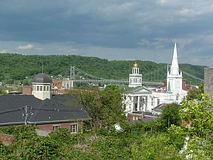 Maysville, Kentucky - Maysville, Kentucky, skyline showing the Mason County Courthouse, and the Simon Kenton Memorial Bridge which spans the Ohio River.