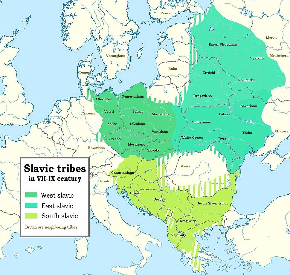 Slavic tribes in the 7th to 9th century