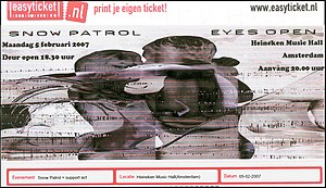 Eyes Open Tour - Ticket for the concert at the Heineken Music Hall on 5 February 2007