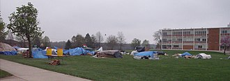 Social justice - College students live in tents for a week to call attention to perceived social injustice