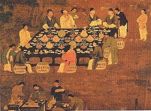 Banquet - A Chinese painting of an outdoor banquet, from the era of the Song Dynasty (960–1279).