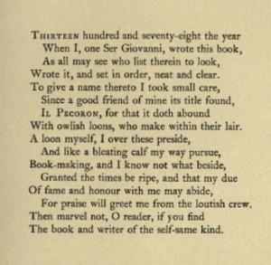 Giovanni Fiorentino - Title sonnet of Il Pecorone