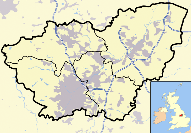 South Yorkshire outline map with UK