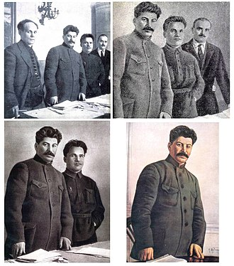 Censorship of images in the Soviet Union - An example of how the picture was altered again and again after each person fell out of favor with the regime of Joseph Stalin.