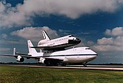 Space Shuttle Endeavour being transported by a Boeing 747.