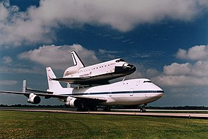 The Space Shuttle Endeavour in transit