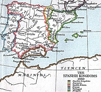 Emirate of Granada - Granada and its surrounding states in 1360