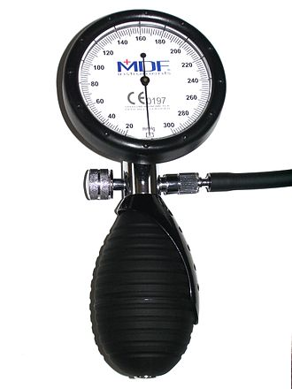 Sphygmomanometer - Aneroid sphygmomanometer dial, bulb, and air valve