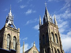 Spires of the Saint James United Church, Montreal, Quebec.jpg