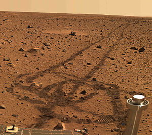 Spirit rover tracks
