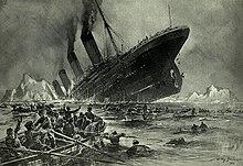 Dessin du Titanic sombrant. La poupe est hors de l'eau.