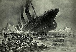 """Untergang der Titanic"", a painting showing a big ship sinking with survivors in the water and boats"