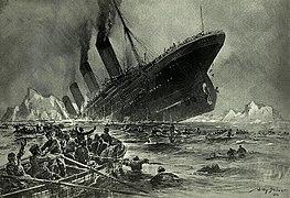 """""""Untergang der Titanic ', een schilderij met een groot schip zinken met overlevenden in het water en de boten"""
