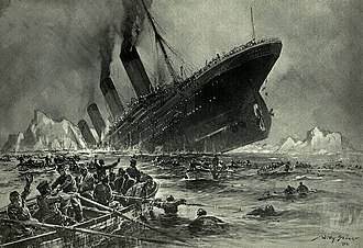 Lifeboat (shipboard) - An image depicting the sinking of RMS Titanic surrounded by lifeboats