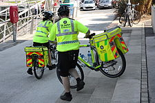 St John Ambulance cyclists, Belfast, June 2010.JPG