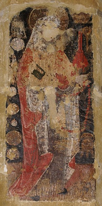 Horley, Oxfordshire - Wall painting of St. Zita in St. Etheldreda's parish church