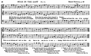 "Shape note - ""Star in the East"" from the 1854 edition of Southern Harmony"