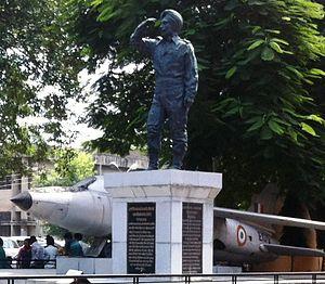 Nirmal Jit Singh Sekhon - Statue of Nirmal Jit Singh Sekhon and his aircraft,