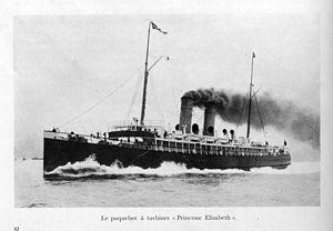 English: Belgian turbine steamer 'Princesse El...