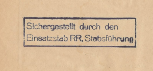 "Seal of the ""Einsatzstab Reichsleiter Rosenberg"", used from 1941 to 1944 to mark seized documents by the German occupation troops Stempel einsatzstab rr.png"